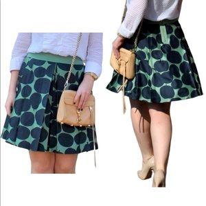 Juicy Couture silk pleated green apple pear skirt